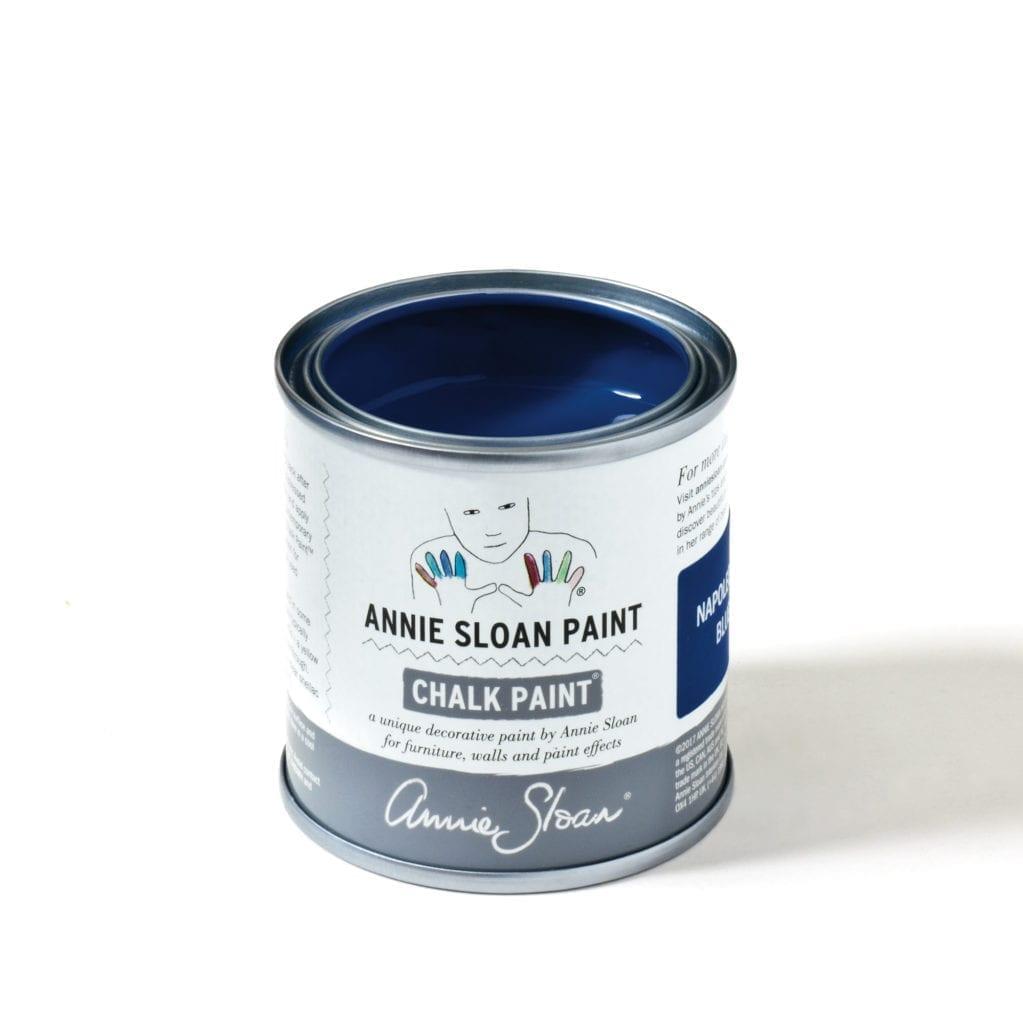 120ml tin of Napoleonic Blue Chalk Paint® furniture paint by Annie Sloan, a rich deep cobalt blue